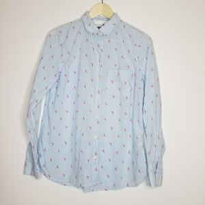 flamingo print blouse M Old Navy lightweight